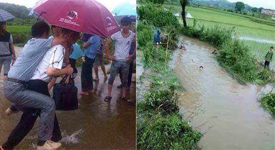 江西官员视察水灾现场怕鞋湿让人背照片曝光后被免