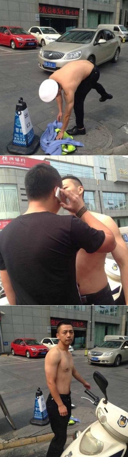 """德阳脱衣交警事件经过  网友:""""帅就是正义"""""""