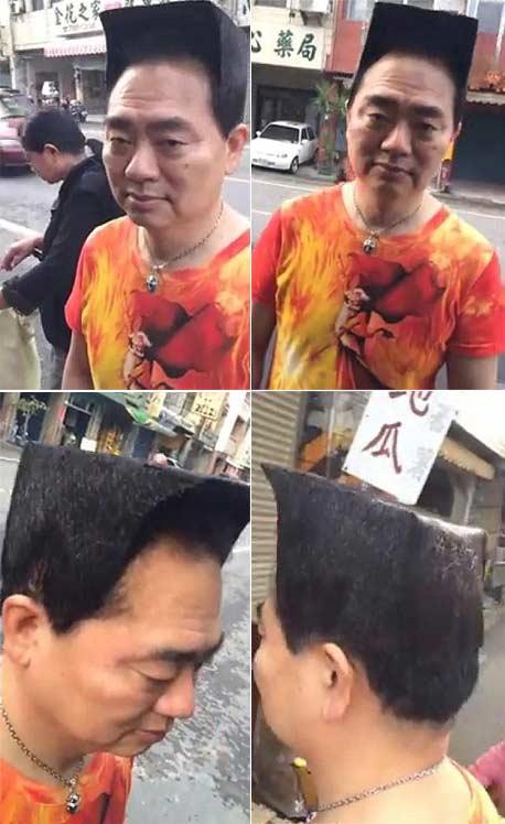 什么是傻瓜!科学家离奇高帽风格的发型来打动一个女孩……可是,奇怪的是,她说'不'