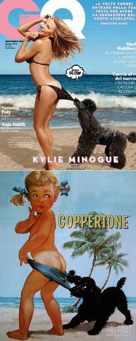 这就是厚脸皮!身着比基尼的凯莉·米洛,46岁,展示了她俏皮的一面,因为她在意大利GQ封面亮出底部镜像著名Coppertone防晒霜的广告