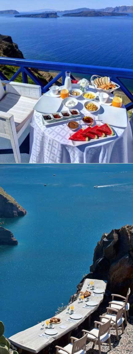 希腊圣托里尼的早餐 在这我绝不赖床