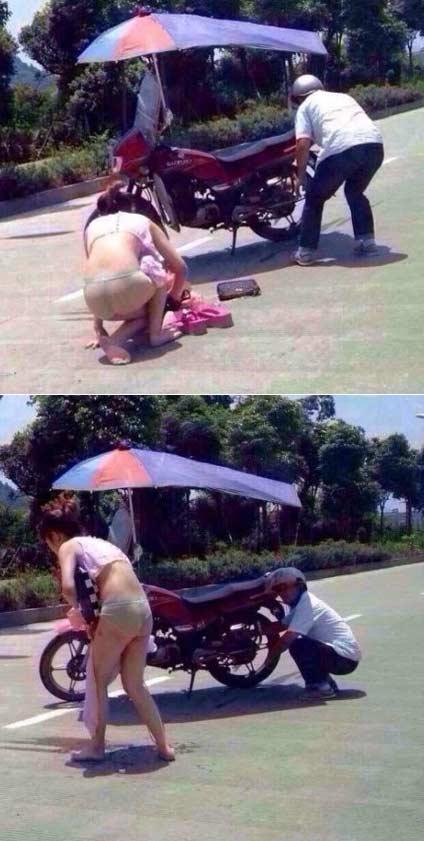 """""""坐黑摩的,把裙子搅到了车轱辘里""""。。。。坐摩托车要注意安全啊,给长裙妹纸提个醒哦!"""