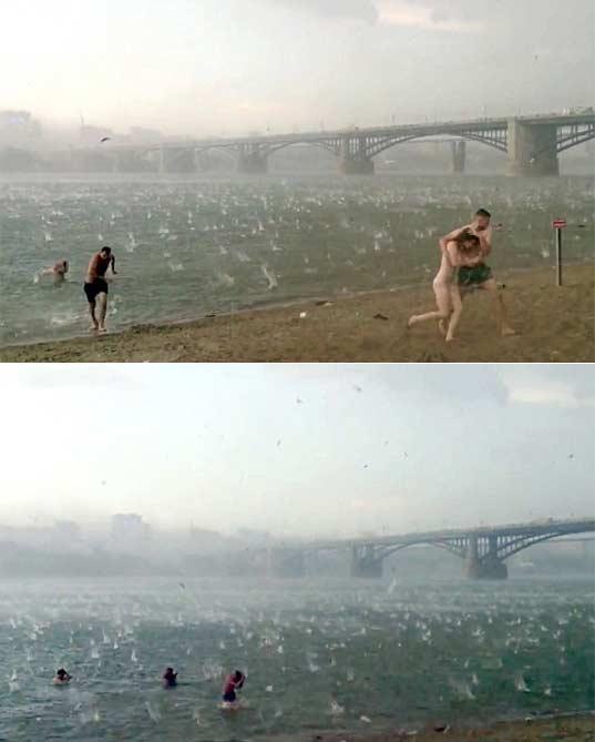 西伯利亚海滩在夏季最热的一天遭遇冰雹袭击 冰雹直径高尔夫球大小(视频)