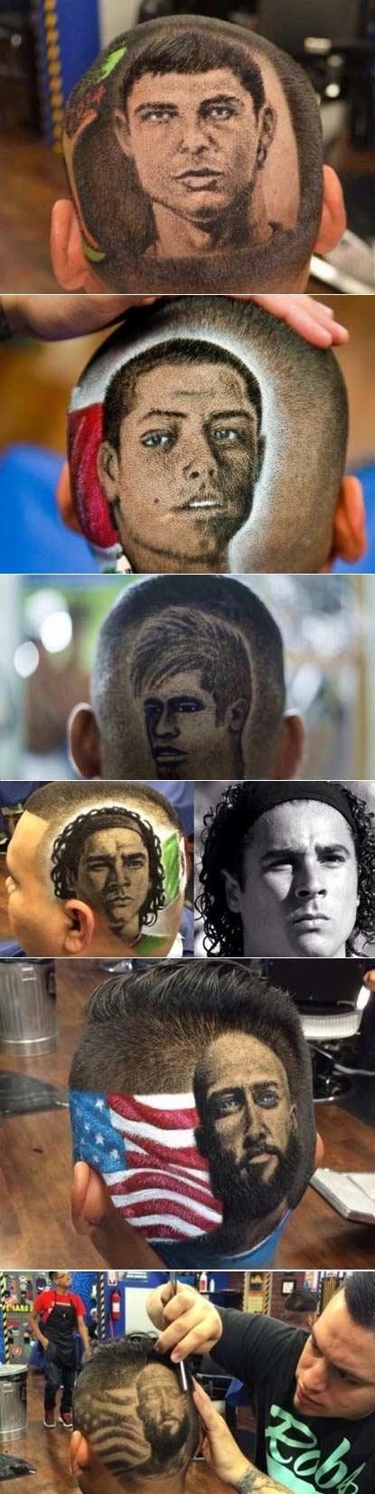 后脑勺上的世界杯:美国理发师在客人后脑勺留下梅西、内马尔、C罗等球星头像