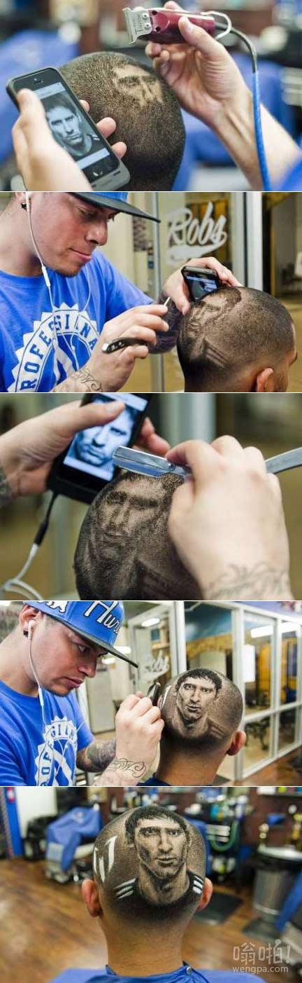 """好牛逼的理发师,""""理发师,请也给我剃一头酷帅的梅西""""!!"""