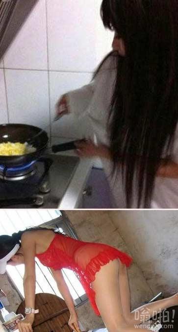 女友做饭穿成这样真的好么