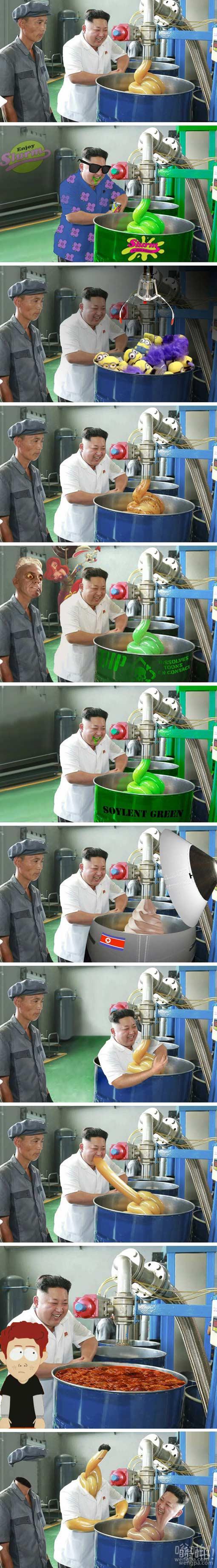 金正恩去一个润滑油厂照片遭网友ps恶搞