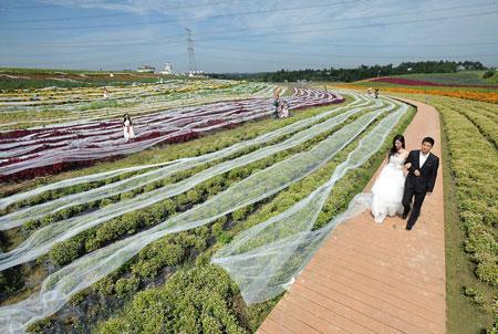 成都现4100米最长婚纱耗费4万 将申请吉尼斯世界纪录(多图)