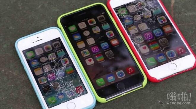 iPhone 6带硅胶外套在3米高的距离屏幕向下自由落体测试结果