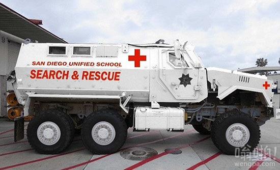 美国加州校区装备退役防地雷装甲车应急保护学生 造价70万美元(图)