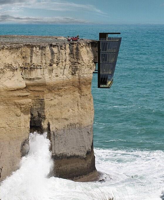 """面朝大海心暖花开!概念无敌海景房子被""""挂""""在印度洋海岸悬崖的一面"""
