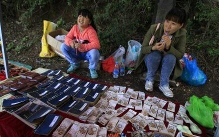 """9岁女童在少林寺景区卖""""无字天书"""" 每本5元"""