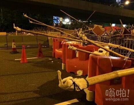 香港占中抗议者的街垒