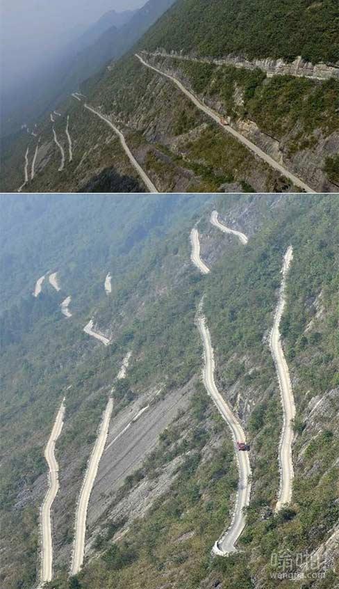 湖北恩施20公里乡村公路险峻 如挂在悬崖上