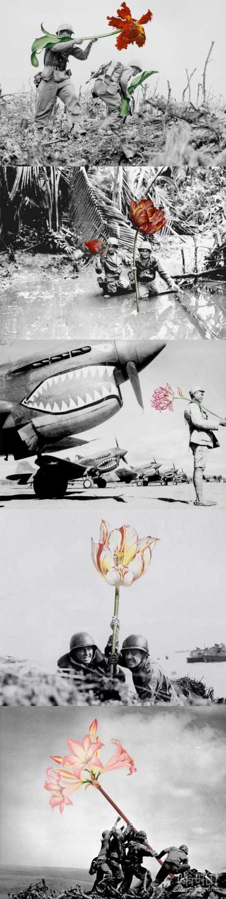艺术家用花替换战时复古照片上士兵的枪