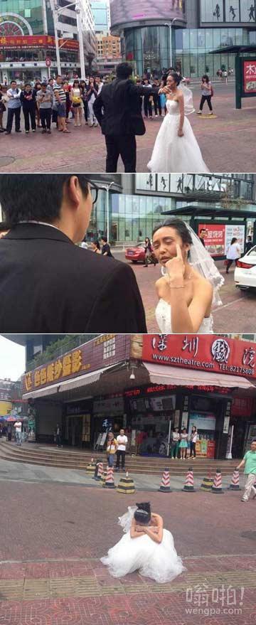 女孩扮70岁老太拍婚纱照吓跑男友 婚不结了
