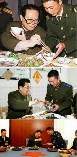 获习总夹菜的军官身份不一般