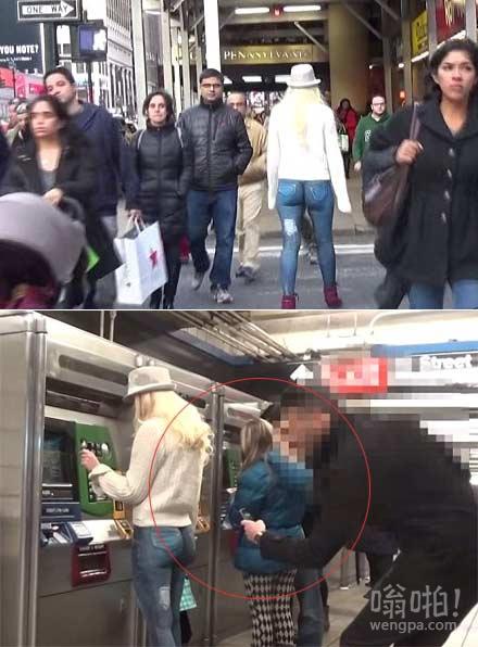 【实拍】身材火辣模特人体彩绘牛仔裤穿梭纽约街头 只有少数细心者发现