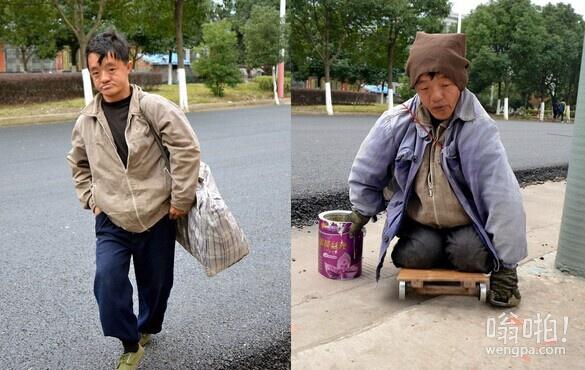 男子冒充瘫痪沿街乞讨 卸妆后健步如飞