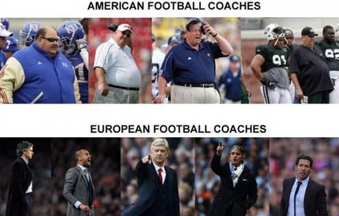 橄榄球和足球的教练组,你看出了区别?