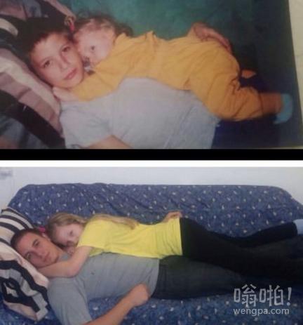 我和妹妹13年前的照片。现在我25她14