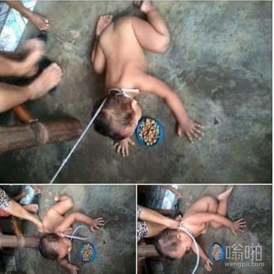 母亲将儿子当狗养 脖子栓绳趴地上吃狗食
