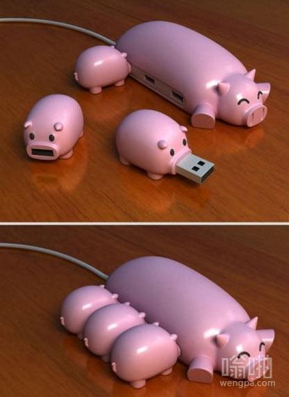 可爱的小猪USB集线器。