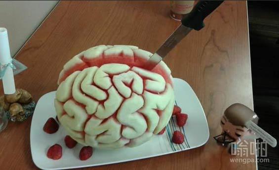 有人为我的朋友做一个西瓜大脑,代替她的生日蛋糕