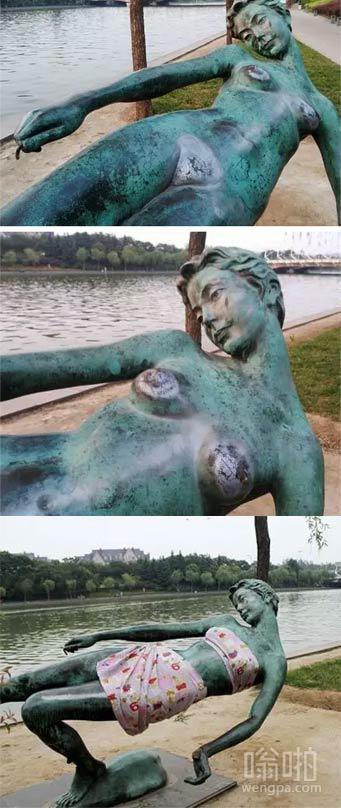 """少女裸体雕塑敏感部位被摸得蹭亮 市民用床单""""遮羞"""""""
