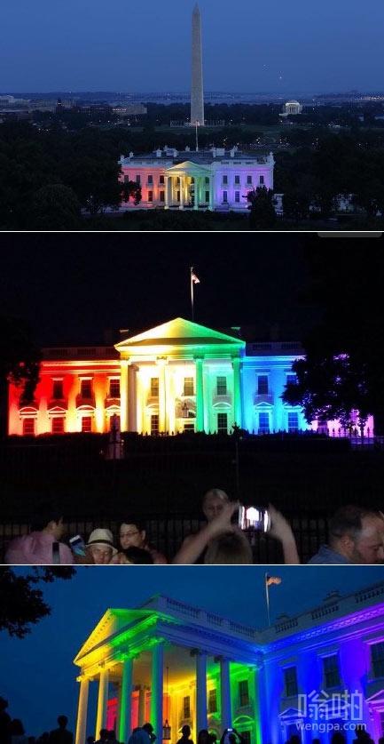 彩虹白宫:彩虹版白宫图案纪念同性婚姻合法