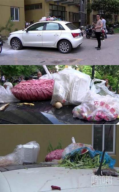 乱停车搞笑图片:在小区里边乱停车的后果 - 嗡啪搞笑图片