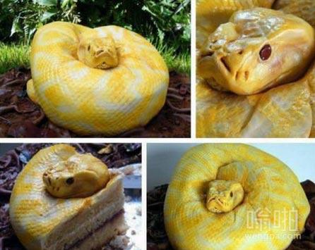 黄金蟒蛋糕 谁第一眼把它看成蟒蛇了