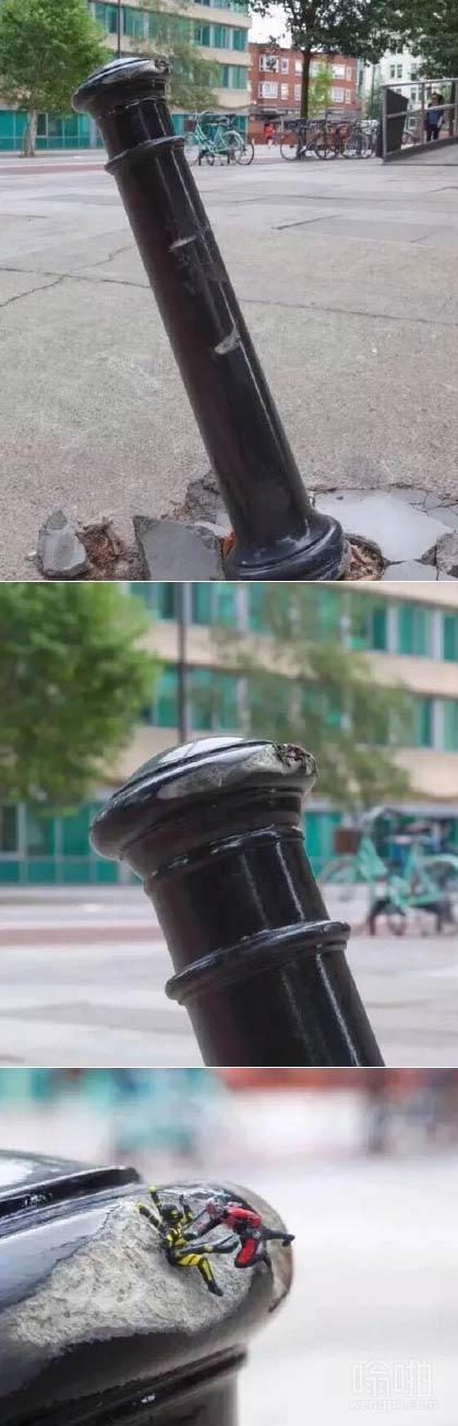 街上一根柱子倒了,走近一看…