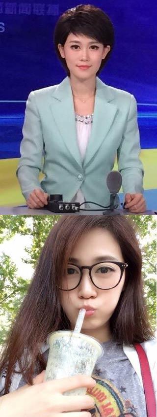 """电视台播音员才是""""大变活人术""""的顶级大师,这是同一个妹子上班时和上班前的照片。"""