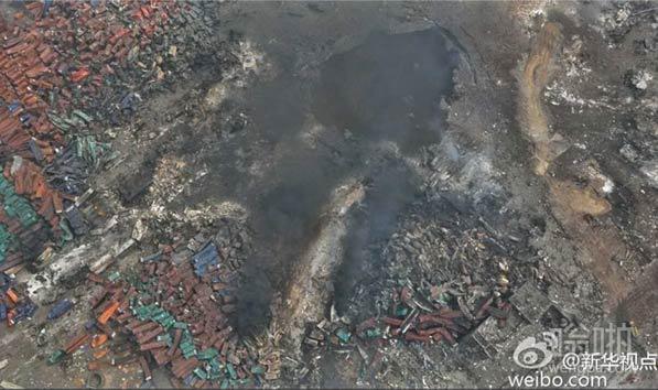 航拍天津塘沽爆炸核心区域现场图