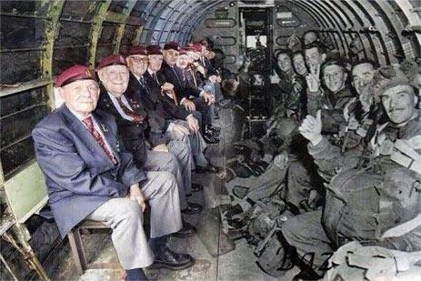 二战老兵坐在自己对面 他们当时正准备空降到诺曼底