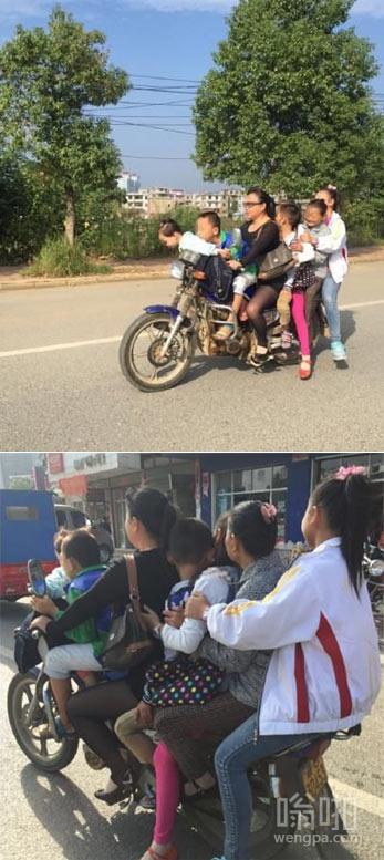 """女子骑摩托上演""""叠罗汉"""" 一车载7人"""