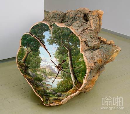 风景画描绘在树桩的切面