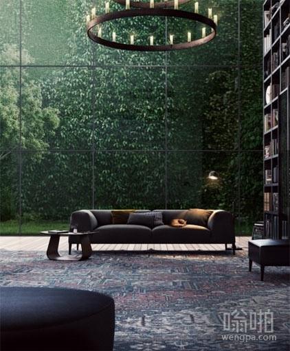德国一个可爱的玻璃墙图书馆与热带雨林在一个视图