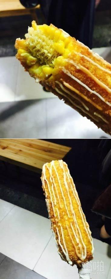 脆皮玉米 秒杀板栗的新晋小吃 有巧克力等十几种口味 外脆里嫩