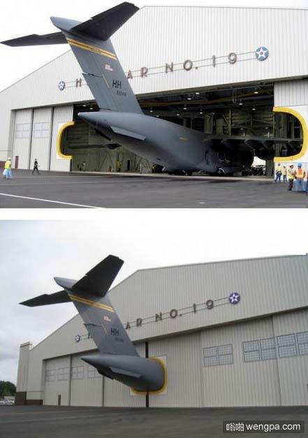 飞机在一个矮小的机库 尾巴收不进来