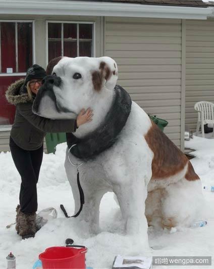 巨型雪犬 令人印象深刻的雪雕