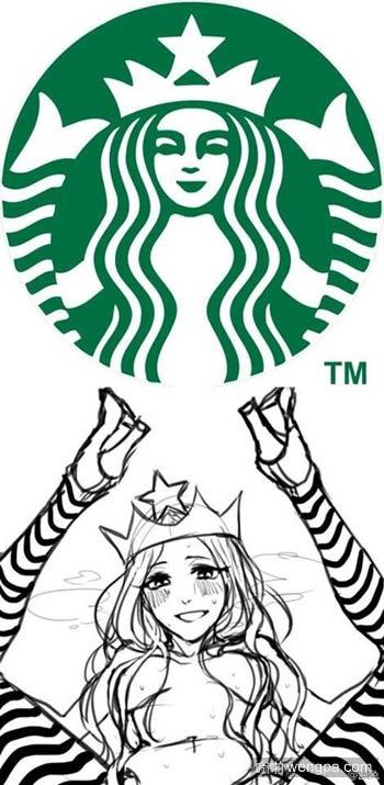 图解星巴克logo美人鱼