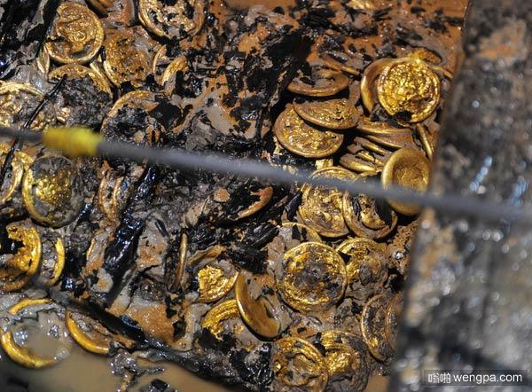 海昏侯墓出土黄金堆 南昌西汉海昏侯墓挖出一堆黄金