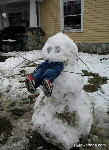 很有创意的雪人 我喜欢这个