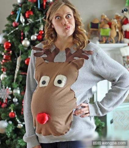 圣诞孕妇装穿出了3D的感觉