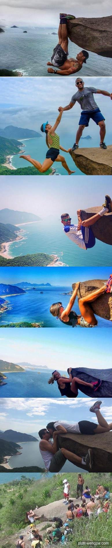 巴西里约悬崖抱石头作死照原来是这样拍的
