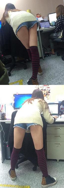 内涵图:新来的女同事总喜欢站着办公_美腿_女同事 - 嗡啪内涵图