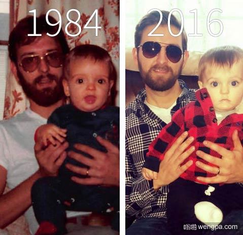 一个孩子和他的父亲 1984年1月VS长大的孩子 他的儿子2016年1月拍了同样的照片