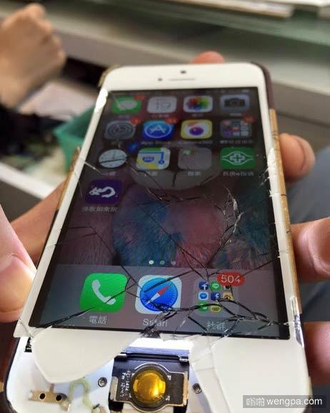 苹果6屏幕都碎成这样了还能用?也真是蛮坚强的